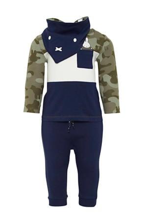 longsleeve + broek en slab Nijntje army groen/donkerblauw