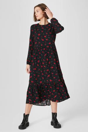 gebloemde jurk zwart/rood/groen