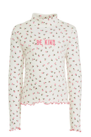 longsleeve met all over print en borduursels ecru/roze