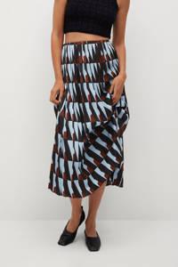 Mango rok met all over print en plooien lichtblauw/multi, Lichtblauw/multi