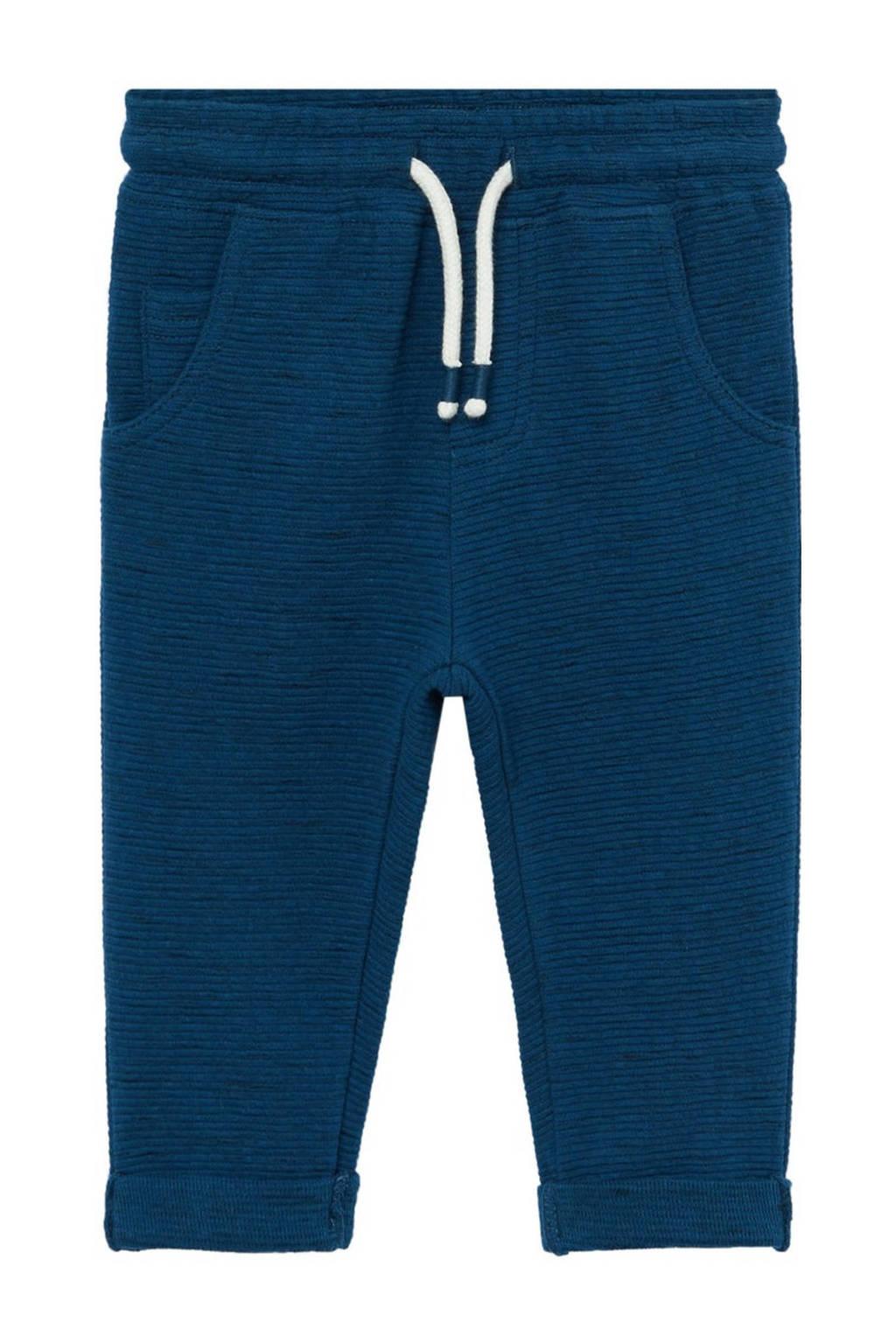 Mango Kids gemêleerde joggingbroek blauw/grijs/wit, Blauw/grijs/wit