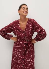 Violeta by Mango jurk met all over print en ceintuur donkerrood, Donkerrood