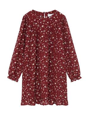 gebloemde A-lijn jurk donkerrood/wit