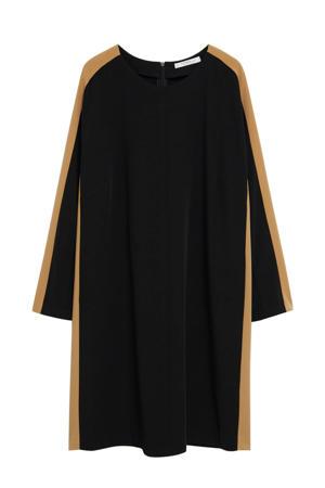 jurk met contrastbies zwart/ beige