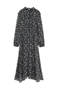Mango gebloemde maxi jurk zwart/ecru, Zwart/ecru
