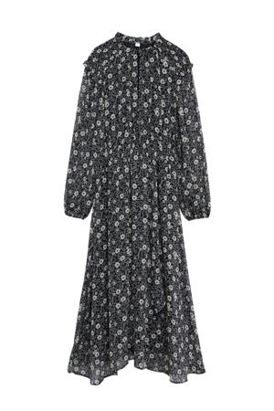 gebloemde maxi jurk zwart/ecru