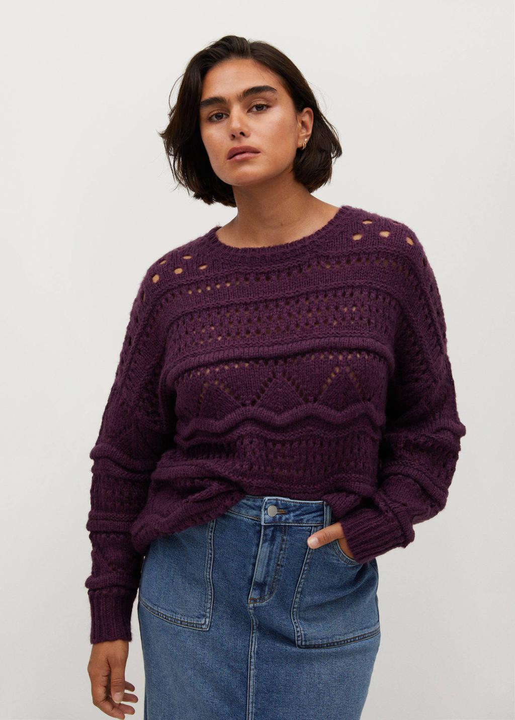 Violeta by Mango grofgebreide trui met textuur donkerpaars, Donkerpaars