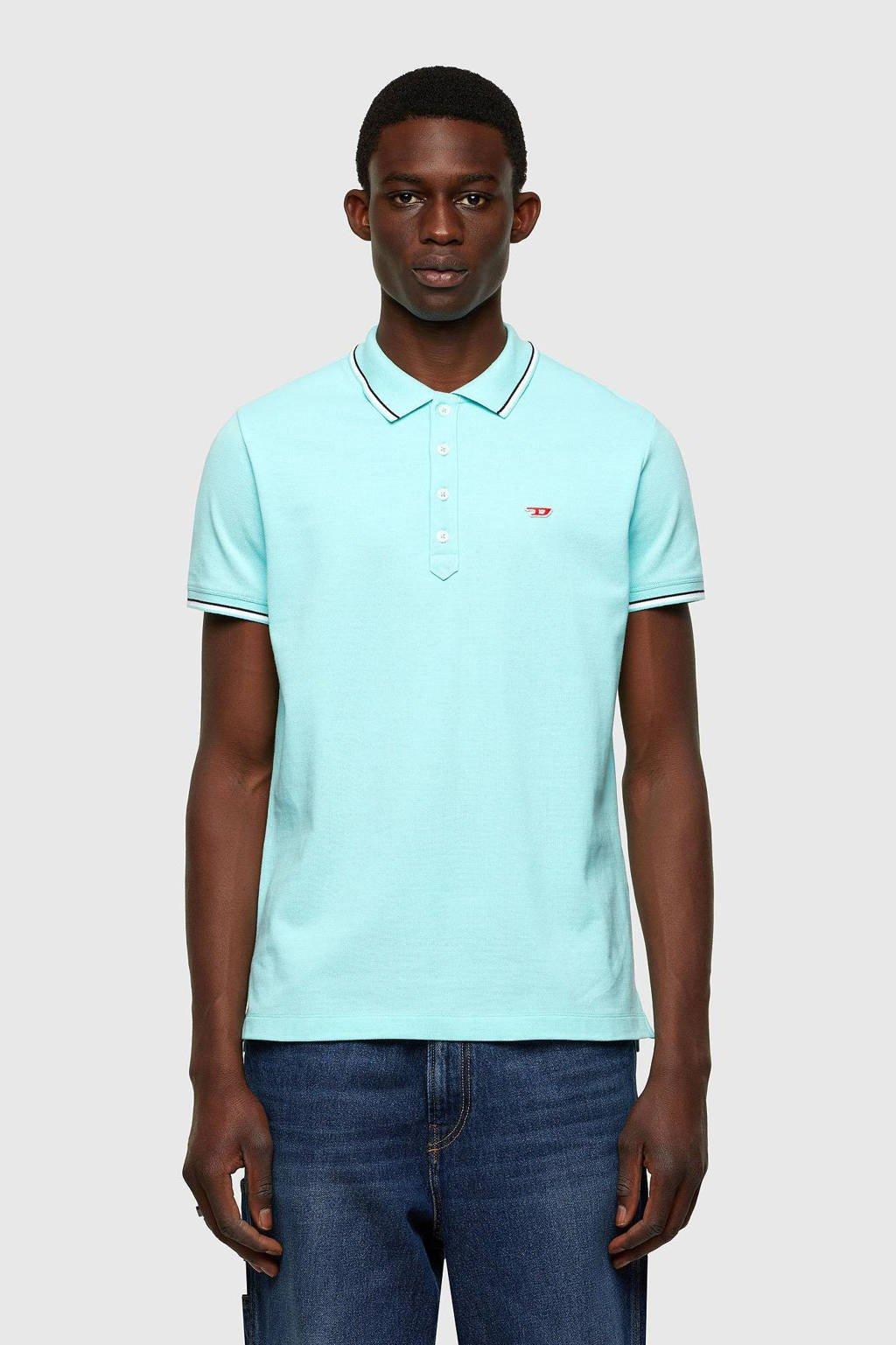 Diesel slim fit polo T-randy met contrastbies turquoise, Turquoise