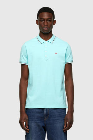 slim fit polo T-randy met contrastbies turquoise