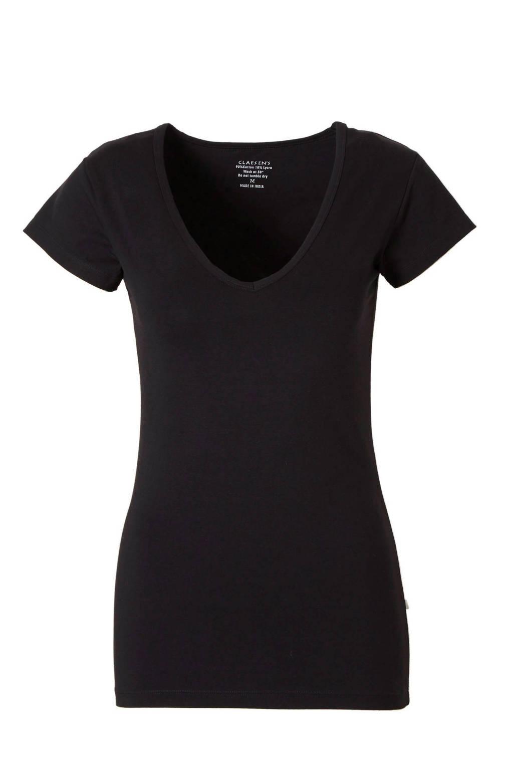 Claesen's ondershirt met V-hals zwart, Zwart