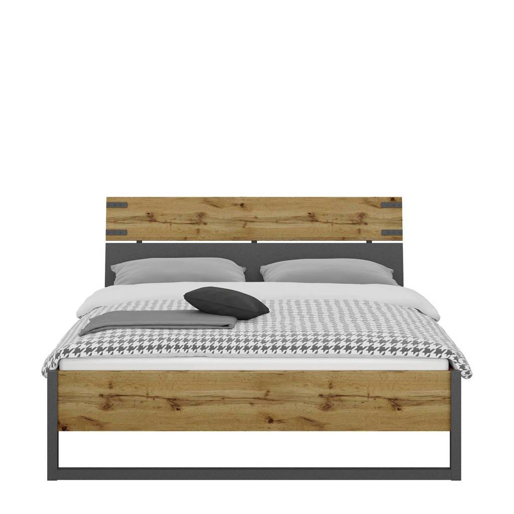 Beter Bed bed Edinburgh (140x200 cm), Donkergrijs/eiken