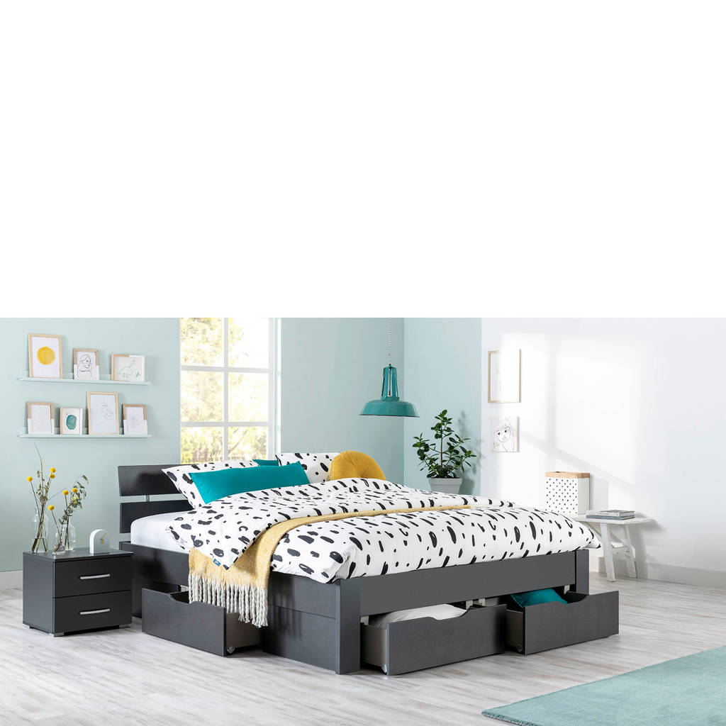 Beter Bed bed Dublin (140x200 cm), Donkergrijs