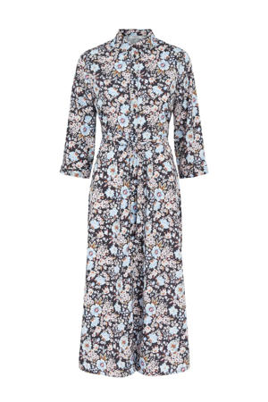 maxi blousejurk met all over print lichtblauw