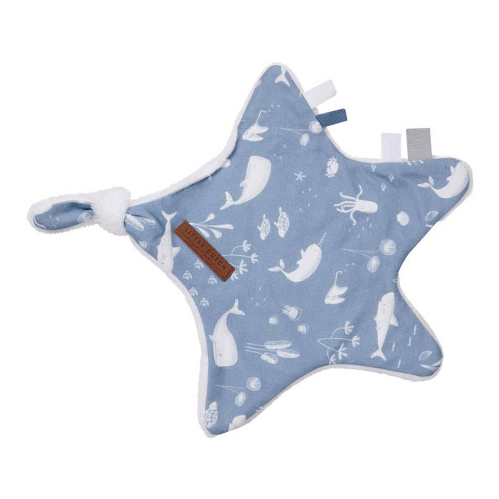 Little Dutch knuffeldoekje ster 30x35 cm Ocean Blue, Blauw