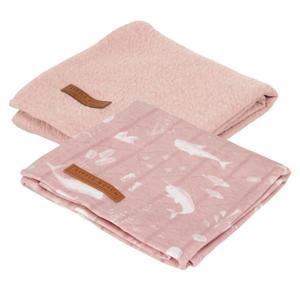 hydrofiele luier 70x70 cm - set van 2 Ocean Pink/Pure Pink
