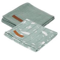 Little Dutch hydrofiele luier 70x70 cm - set van 2 Ocean Mint/Pure Mint, Mintgroen
