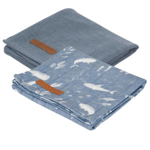 hydrofiele luier 70x70 cm - set van 2 Ocean Blue/Pure Blue