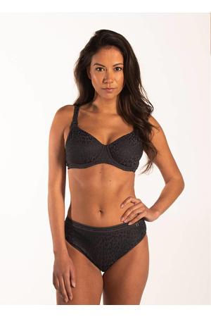 high waist bikinibroekje met panterprint zwart