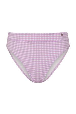 geruit high waist bikinibroekje lila/wit