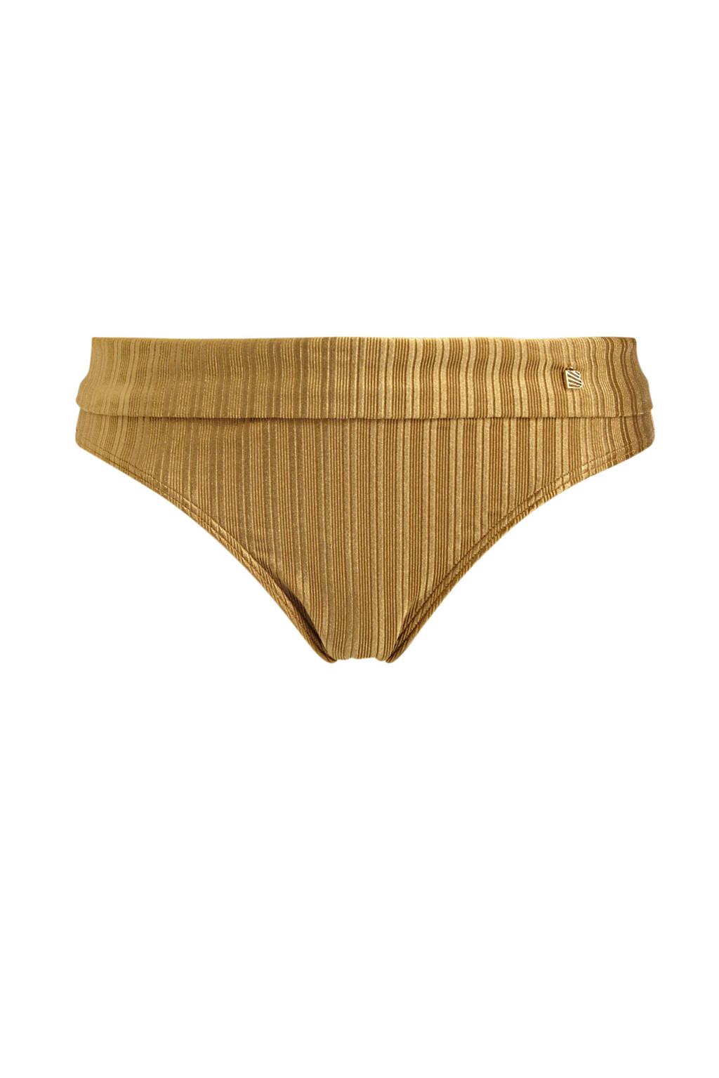 Beachlife omslag bikinibroekje met streep dessin goud, Goud