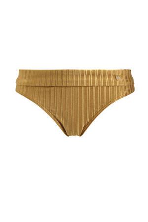 omslag bikinibroekje met streep dessin goud