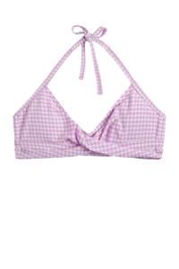 Beachlife geruite bikinitop lila/wit, Lila/wit