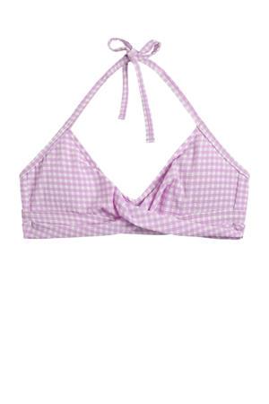 geruite bikinitop lila/wit