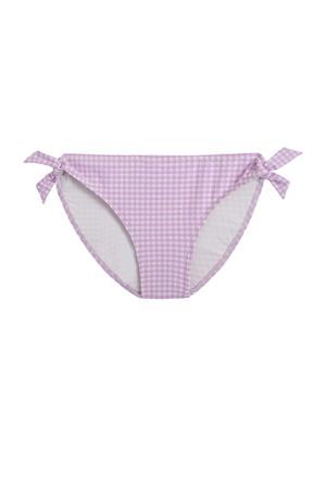geruit strik bikinibroekje lila/wit