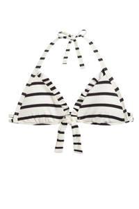 Beachlife gestreepte triangel bikinitop wit/antraciet, Wit/antraciet