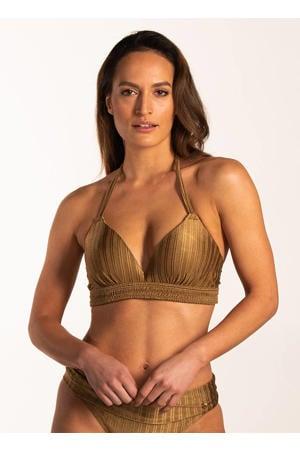 voorgevormde halter bikinitop met streep dessin goud