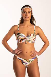Beachlife strapless bandeau bikinitop met all over print groen/geel/rood, Groen/geel/rood