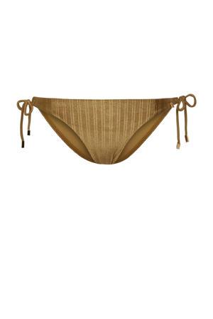 strik bikinibroekje met streep dessin goud
