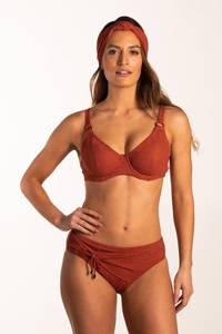 Beachlife high waist bikinibroekje met lurex rood/goud, Rood/goud