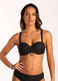 Beachlife strapless bandeau bikinitop met panterprint zwart/grijs, Zwart/grijs