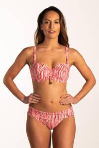 Beachlife omslag bikinibroekje met zebraprint wit/rood/roze, Wit/rood/roze