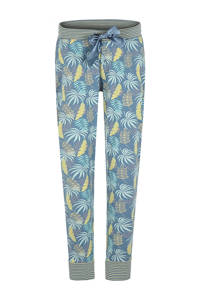 Charlie Choe pyjamabroek met all over print lichtblauw/geel, Lichtblauw/geel