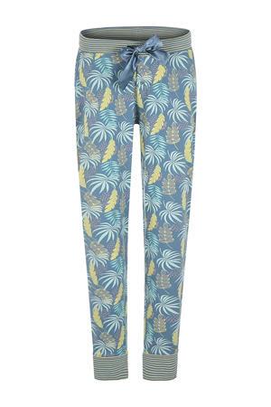 pyjamabroek met all over print lichtblauw/geel