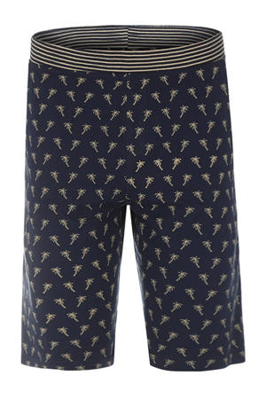 pyjamashort met palmboom print donkerblauw/beige