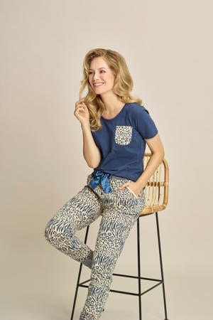 pyjamabroek met all over print beige/donkerblauw