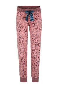 Charlie Choe pyjamabroek met all over print roze/donkerblauw, Roze/donkerblauw
