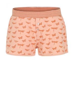 pyjamashort met all over print zalmroze