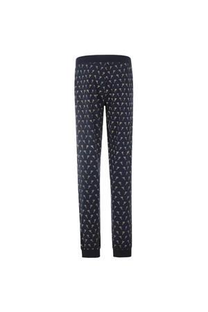 pyjamabroek met palmboom print donkerblauw/beige