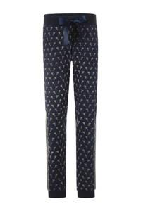Charlie Choe pyjamabroek met palmboom print donkerblauw/beige, Donkerblauw/Beige