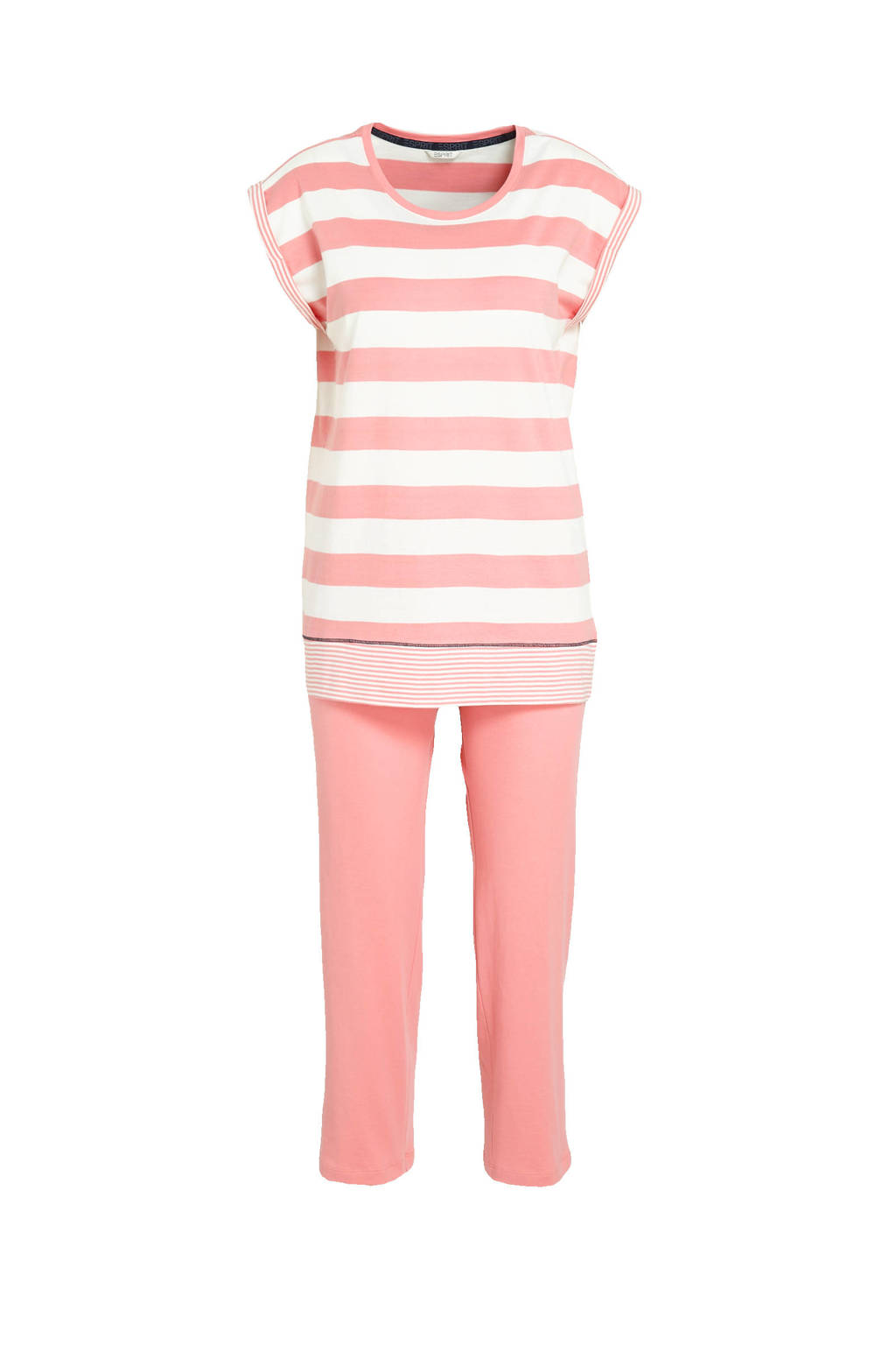 ESPRIT Women Bodywear pyjama met strepen koraalrood/wit, Koraalrood/wit