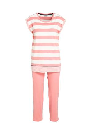 pyjama met strepen koraalrood/wit