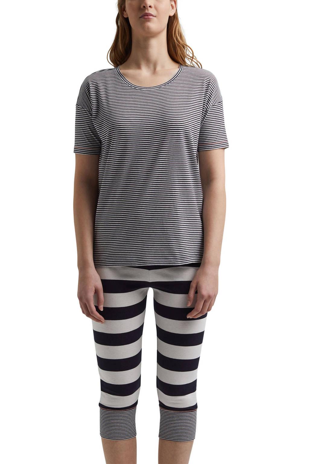 ESPRIT Women Bodywear gestreepte pyjama donkerblauw/wit, Donkerblauw/wit