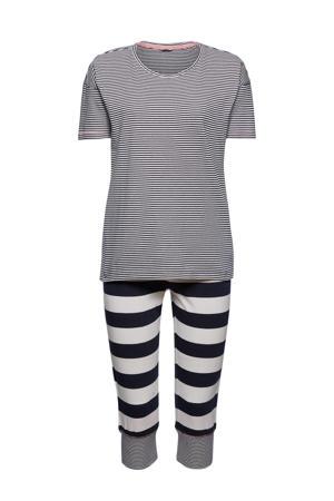 gestreepte pyjama donkerblauw/wit