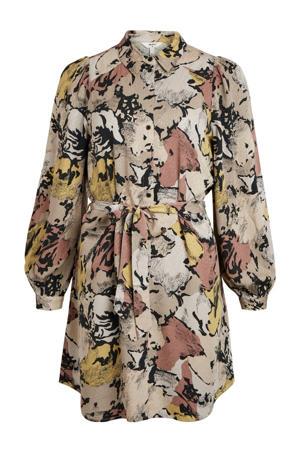 jurk OBJSTINE met all over print grijs