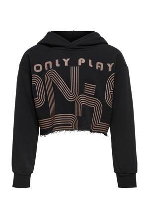 cropped sportsweater zwart/taupe