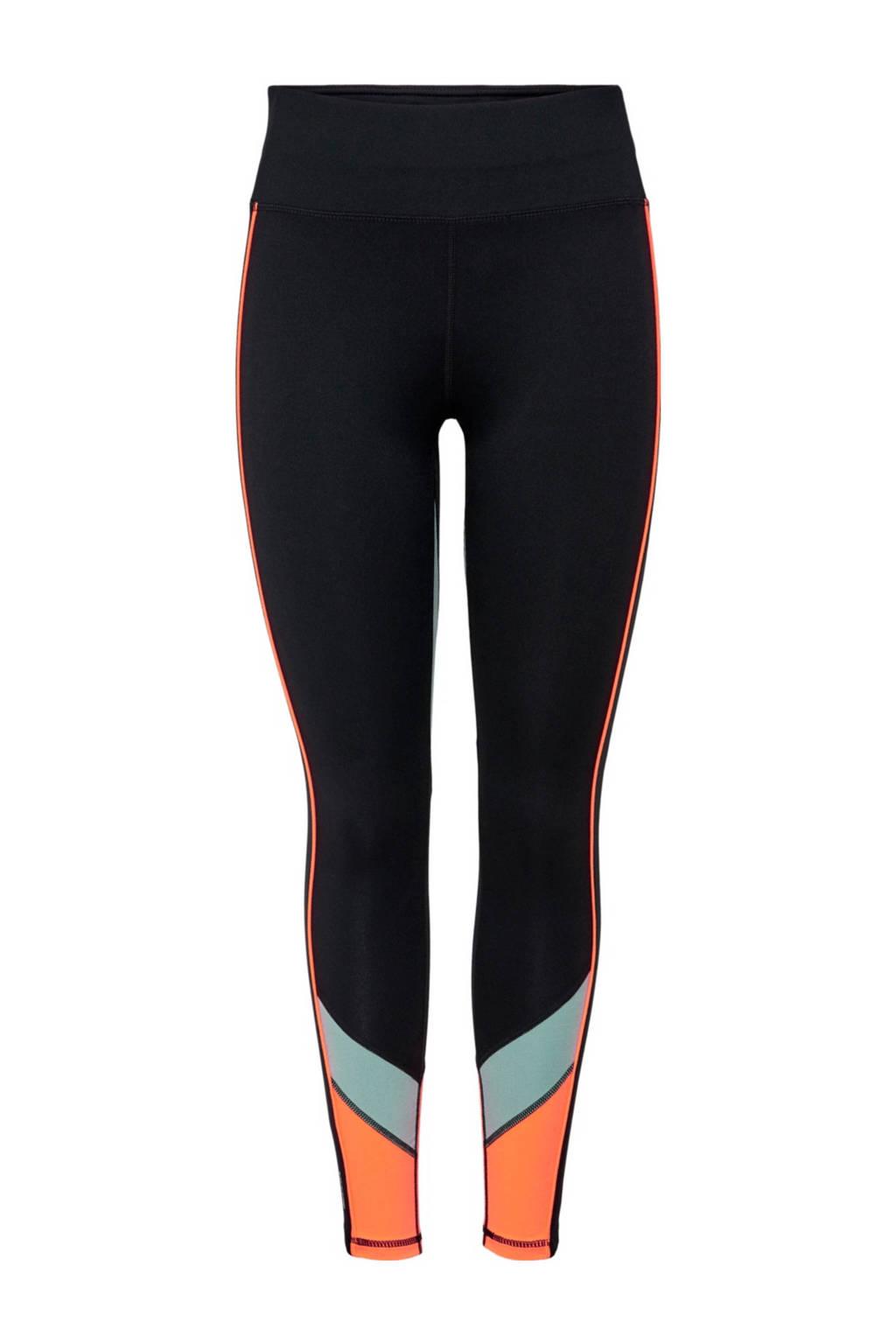 ONLY PLAY Girls sportbroek Dando zwart/oranje/mintgroen, Zwart/oranje/mintgroen